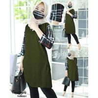 Fashion Atasan Long Tunik Wanita Muslim Busui Masker Kancing Terbaru