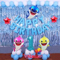 Set paket balon ultah anak baby shark birthday premium ulang tahun