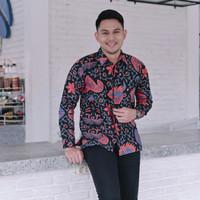 Kemeja Batik Pria Lengan Panjang - Baju Batik Kantor Hitam Pink Biru