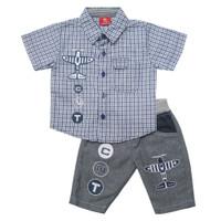 Setelan Baju Anak Bayi Laki-laki 6-12 Bulan 1-2 Tahun Kemeja Motif