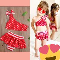 bikini anak perempuan 1thn-6thn merah putih volca stelan swimsuit