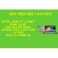 MSI PRESTIGE 14 A11SCX I7 1185G7 16 GB 512 GB SSD GTX 1650 4 GB 14 FHD