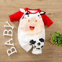 Baju baby jumper bayi karakter romper sapi moo lucu merah cow import