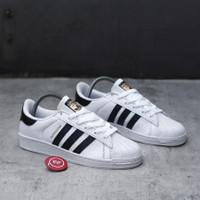 Sepatu Adidas Superstar Putih list hitam For Men & Women