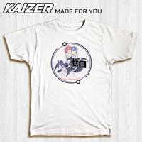 KAIZER RH-0052 Kaos Re Zero Neko Rem Ram - Anime - Putih, S