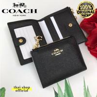 (100% ORIGINAL) COACH Snap Mini Wallet In Crossgrain Leather Black