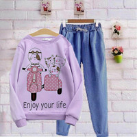 Baju Setelan Sweater Kaos Wanita Lucu Karakter Anak Remaja Perempuan