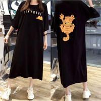 GARFIELD Daster Kaos Jumbo Baju Big Size Wanita XXL Terusan Dress
