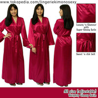 kimono Panjang satin baju busana tidur wanita merah maroon jubah tidur
