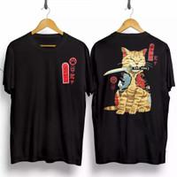 T-shirt Samurai Kucing / Baju Kaos Distro Pria Wanita Kaos Samurai