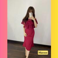 baju dress pesta anak 16-22thn perempuan remaja bitna gaun maroon