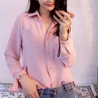 Baju Atasan Wanita Kemeja Panjang Jumbo Kemeja Wanita Jumbo - Cream