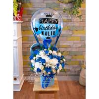 Rangkaian Bunga Ucapan Balon Biru Blue Balloon Flower Box Birthday new