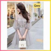 baju dress pesta anak 16-22thn perempuan remaja xenna midi gaun grey