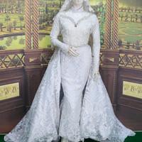 kebaya span baju pengantin putih akad nikah