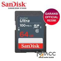 SD Card SanDisk Ultra SDXC class 10 64GB 100MB/s MEMORI Kamera DSLR