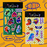 Illustrated sticker sheets (A6) - abstract (gree)