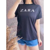 Baju Kaos Wanita Lengan Pendek Ukuran L Atasan Cewek Import Zarra - Hitam, L