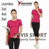 Setelan baju Senam 7/8 aerobik zumba jumbo lengan pendek yovis sport - pink hitam, 5xl