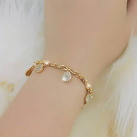 Gelang Tangan Wanita Rantai Emas Gold Dan Silver Model Opak Diamond