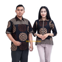 Batik Couple Anyaman Bola Coklat - Atasan Batik Wanita – Hem Batik