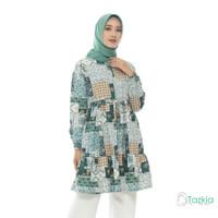 Atasan Muslim Wanita | Ariana Tunik Hijau| S M L XL | Tazkia Hijab