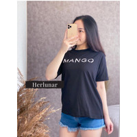 Kaos Branded Wanita Lengan Pendek   Kaos Distro Wanita - Mango Hitam, L