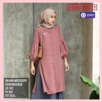 T02 NEW Tunik Kancing Baju Atasan Muslim Wanita Dress Lengan Panjang