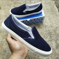Sepatu Pria Big Size 44-46 slip on Vans OG blue Navy
