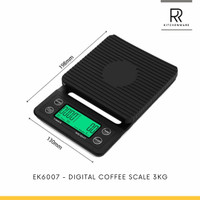 DIGITAL COFFEE SCALE 3KG / 0.1GR V60 DRIP WITH TIMER / TIMBANGAN KOPI
