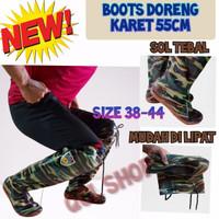Sepatu Boot Bawah Lutut (50cm) motif hijau loreng - Hijau, 40