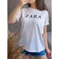 Baju Kaos Wanita Lengan Pendek Ukuran L Atasan Cewek Import Zarra - Putih, L