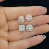 Anting Tusuk Pesta Wanita Permata Tanam Keliling Full Diamond