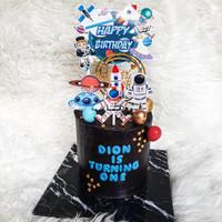 Astronot Roket Topper Cake Birthday /Hiasan Kue Ulang Tahun