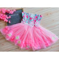 baju/Dress anak/gaun pesta anak/Bronsy/ Flower/Dress cantik/ Pink - 2-3 tahun, Merah Muda