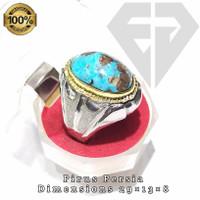 cincin permata batu pirus persia urat emas asli natural ring monel HM