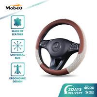 Mobeo Sarung Setir Kulit / Leather Premium Rayon Universal 38 cm - Cokelat