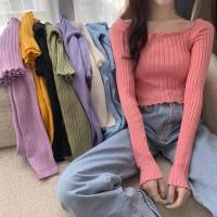 Baju Atasan Wanita Domiva Panjang Crop Kaos Longsleeve Wanita Crop