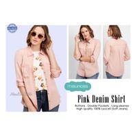 MAURICES Pink Denim Lyocel Shirt Kemeja denim soft jeans adem atasan