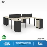Meja Kerja Kantor H Shape Berhadapan 4 Orang + Meja Samping 3 susun