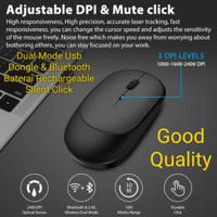 Rechargeable Mouse Slim Mode Op Apple Silent Click quiet bkn logitech