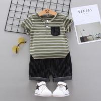 Boy Set - Stripe with Pocket / Setelan Anak Laki / Baju Set Bayi Cowok