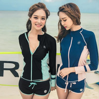 Baju Renang Wanita Long Sleeve Rash Guard Swimsuit Bagus - Milenial