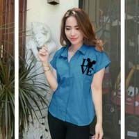 baju kemeja cewek wanita casual trendy terbaru lengan pendek e-love