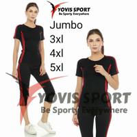 Setelan baju Senam 7/8 aerobik zumba jumbo lengan pendek yovis sport