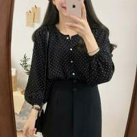 atasan/blouse wanita kayoung bahan wolfis moyif polkadot warna hitam