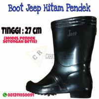 SEPATU BOOT JEEP KARET HITAM PENDEK - 27