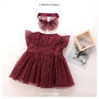 Dress tutu anak bayi maroon baju aqiqah gaun pesta ulang tahun ALERIA