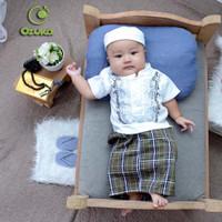 Baju Bayi Koko Akikah / Baju Bayi Laki-Laki Muslim Set Sarung dan Peci