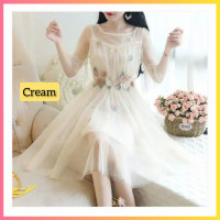 baju dress pesta anak 16-22thn perempuan remaja xenna midi gaun cream